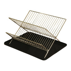 Cookpro - Cookpro Chrome Folding Dish Rack - Features a 2-tier dish rack stand and a plastic drain board. Chrome finish wire rack has slots for dishes, spaces for cups, and silverwar, and small rubber feet to keep it steady. Also folds flat for simple storage. Use the drain board to prevent water from dripping on your counter while your clean dishes are drying.