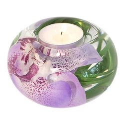 "Emilio Robba - T Light Candle Holder, Lavender Spotted Phalaenopsis, Small - Small round glass t-light candle holder filled with Lavender Spotted Phalaenopsis Orchid and our exclusive ""Illusion Water"". (ER040LVSP)"