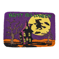 Zeckos - Happy Halloween Light up Indoor Mat - This Halloween doesn't have to be spooky, gloomy, creepy or dark Place this 'Happy Halloween' doormat inside your front door and watch it, and all the faces of your visitors, light up Flip the thumb switch on the side to see the multitude of blues, greens, purples and yellows dance, flicker and blink Tiny LED lights accent the Halloween theme of this colorful doormat. It is pressure sensitive, so all you have to do is simply step on it to see the lights It's true entryway entertainment It measures 17 1/2 inches long, 26 inches wide and 1/2 inch deep and requires 2 CR2032 lithium coin cell batteries (included). It has a foam backing to help prevent slipping and sliding. NOTE: Rated for indoor use only