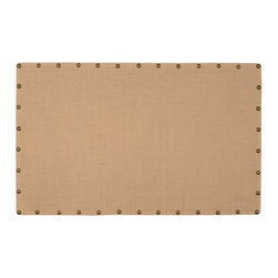 "Linon Home Decor - Linon Home Decor Burlap Nailhead Corkboard - Large X-1-55X43LRUBN-XMA - Ideal for placing in an office, kitchen or entry, the Burlap Corkboard is perfect for creating a note and message taking space in your home. The burlap covered cork and mdf is accented with oversized antique bronze nailheads. Easily hands vertically or horizontally. Measures 34""x55"""