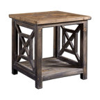 Uttermost - Spiro Reclaimed Wood End Table - Solid, Reclaimed Fir Wood Hand Finished In Brushed Black With Natural Wood Undertones. Top Is Salvaged Fir Lumber, Sun Faded And Left Natural With Only A Light Gray Glaze.