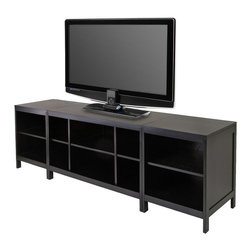 Winsome - Modular Hailey 3pc Media Center - Create a entertainment center with this 3pc modular TV stand and media set. Set comes with one TV Stand and two media stand. Made of solid and composite wood in dark espresso finish. TV Stand size 40 in. L x 18.98 in. W x 24.02 in. H. Media Stand is 18.98 in. L x 18.98 in. W x 24.02 in. H. Assembly Required