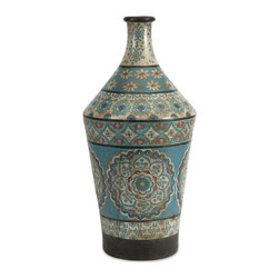 Imax - iMax Kabir Large Hand Painted Vase X-80237 - Globally inspired, this large hand painted vessel from India spices up any room with rich indigo contrasts and red accents.