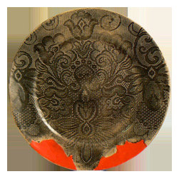 Black Lace Dinner Plate, Red Trim - Hang those velvet curtains, this dinner is about to get medieval chic!