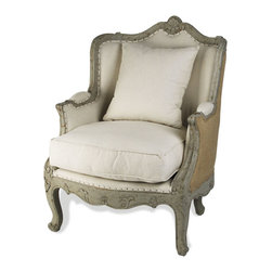 Kathy Kuo Home - Adele French Country Rustic Off White Cotton Arm Accent Chair - Jute Back - Rustic chic and relaxed comfort  come easy with the Adele.  Upholstered in cotton and jute, with an olive green frame, this old-world inspired beauty is the perfect place to curl up with a good book - one of the classics, of course.