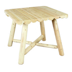 """Rustic Natural Cedar - Rustic Natural Cedar 200135 Square Dining Table Upsable 42"""" - 37'' log-style square dining table seats four comfortably. Sanded to an ultra-smooth finish and virtually maintenance-free. Solid cedar construction ensures years of lasting beauty."""
