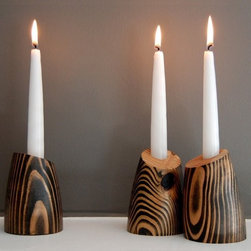 "1 BILLIE Decorative Wood Candle Holder by jean pelle - I love the bold grain pattern on these handmade wooden candleholders. They bring in that element that screams ""BOIS!"" I think they'd be wonderful on a steel table, or will really stand out on a white countertop or shelf."