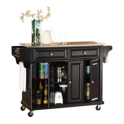 Crosley Furniture - Crosley Furniture 52x18 Stainless Steel Top Kitchen Cart/Island in Black - Constructed of solid hardwood and wood veneers, this mobile kitchen cart is designed for longevity. The beautiful raised panel doors and drawer fronts provide the ultimate in style to dress up your kitchen. Two deep drawers are great for anything from utensils to storage containers. Behind the four doors, you will find adjustable shelves and an abundance of storage space for things that you prefer to be out of sight. The heavy duty casters provide the ultimate in mobility. When the cabinet is where you want it, simply engage the locking casters to prevent movement. Style, function, and quality make this mobile kitchen cart a wise addition to your home.