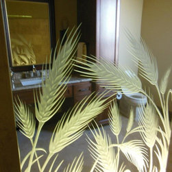 Glass Shower with Frosted, Carved Wheat Stalks - Custom glass shower panel featuring frosted and 3D carved wheat stalks.