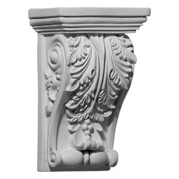 """Ekena Millwork - 5 1/4""""W x 3 1/4""""D x 8 3/8""""H Edinburgh Corbel - 5 1/4""""W x 3 1/4""""D x 8 3/8""""H Edinburgh Corbel. These corbels are truly unique in design and function. Primarily used in decorative applications urethane corbels can make a dramatic difference in kitchens, bathrooms, entryways, fireplace surrounds, and more. This material is also perfect for exterior applications. It will not rot or crack, and is impervious to insect manifestations. It comes to you factory primed and ready for your paint, faux finish, gel stain, marbleizing and more. With these corbels, you are only limited by your imagination."""