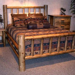 Rustic Furniture Creations - Classic Rustic Lodge Bed - Oak Finish - As classic as they come, teh Classic Rustic lodge bed fits countless styles and decors. Each log is hand selected and strategically placed for balance of beauty and character. The result is a one of a kind furniture piece that is never duplicated.