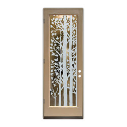 Sans Soucie Art Glass (door frame material Plastpro) - Glass Front Entry Door Sans Soucie Art Glass Forest Trees - Sans Soucie Art Glass Front Door with Sandblast Etched Glass Design. GET THE PRIVACY YOU NEED WITHOUT BLOCKING LIGHT, thru beautiful works of etched glass art by Sans Soucie!  THIS GLASS IS SEMI-PRIVATE.  (Photo is View from OUTside the home or building.)  Door material will be unfinished, ready for paint or stain.  Bronze Sill, Sweep and Hinges. Available in other finishes, sizes, swing directions and door materials.  Tempered Safety Glass.  Cleaning is the same as regular clear glass. Use glass cleaner and a soft cloth.