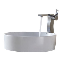 Kraus - Kraus White Round Ceramic Sink and Sonus Faucet Chrome - *Add a touch of elegance to your bathroom with a ceramic sink combo from Kraus