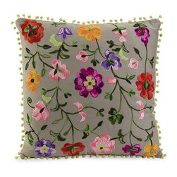 Country Garden Pillow - Embroidered grey cotton takes on a spicy look with the bold colored floral design of the Country Garden pillow.