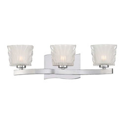 Savoy House - Savoy House Carina 3 Light Bath Bar, Chrome - 8-236-3-CH - Savoy House's Carina collection is a cool and contemporary look for bathroom vanity lighting. Fixtures feature ribbed clear glass shades that are frosted inside, mounted atop a single bar and a wavy back plate finished in chrome. Comes in 2- to 4-light sizes.