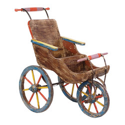 Colorful Wooden Stroller - Colorfully hand painted and distressed wooden baby stroller. This item is crafted by artisans and surface variations should be expected and celebrated. No two are exactly alike.