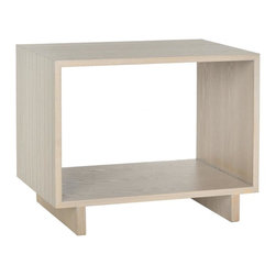 Safavieh - Raylan Stand - Retro modern styling defines the minimalistic silhouette of the Raylan stand in grey-washed wood grain finish with pencil-thin carved lines adorning its outer shell. Use this side table in the living room or bedroom for magazine storage or curio displays.