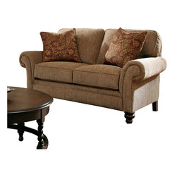 Broyhill - Broyhill Larissa Brown Two Seat Loveseat with Cherry Wood Finish - Broyhill - Loveseats - 61121Q1 - About This Product: