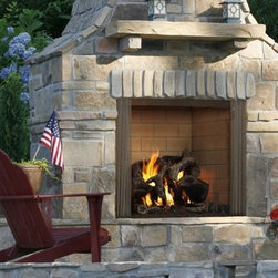 Heatilator Castlewood Wood Fireplace - The Castlewood turns any outdoor area into a welcoming and relaxing living space. A large, high opening provides a dramatic view from across the yard, and a textured brick interior offers masonry-style looks at a fraction of the cost.