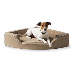 Frontgate - Linen Corner Pet Bed Dog Bed - High-density foam mattress. Linen textured cover. Corded trim. Machine wash. Our Linen Corner Pet Bed installs comfortable quarters for your companions within the angles of your home. This space-saving bed tucks tightly into any open corner to create an out-of-the-way, full-sized sleep spot for your pet.  .  .  .  . Imported.