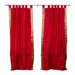 Indian Selections - Pair of Fire Brick Tab Top Sheer Sari Cafe Curtains, 43 X 24 In. - Several sizes available