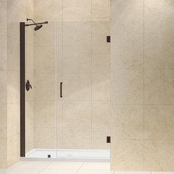 """DreamLine - DreamLine SHDR-20467210-06 Unidoor Shower Door - DreamLine Unidoor 46 to 47"""" Frameless Hinged Shower Door, Clear 3/8"""" Glass Door, Oil Rubbed Bronze Finish"""