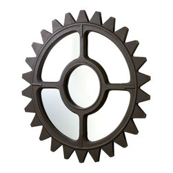 Cyan Design - Cyan Design Rockford Wall Mirror - Inner Workings of StyleYou're the kind of person that loves to take things apart, just to see how everything goes together. Show off your curiosity with this sprocket-shaped wall mirror. Rustic iron, machine-inspired design, and a rugged industrial feel - everything you love about the way things work. It's got the added bonus of being a go-anywhere piece that truly looks great in any room. You've got the nuts and bolts of style when it comes to this unique wall mirror!Frame crafted from ironFinished with an aged bronze toneMounting hardware includedMatches the other Rockford pieces