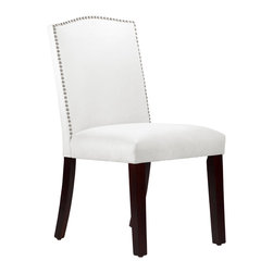 None - Made to Order Nail Button Arched Dining Chair - This elegantly arched dining chair features a meticulous individual nail button detail. Upholstered in luxurious velvet fabric and delicately handcrafted in plush foam padding,this chair takes the spotlight in your dining room decor.