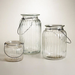 Clear Ribbed Glass Lantern Candleholder -