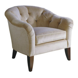Sophia Chair - A classic barrel chair which is both great looking and comfortable. The tufted back add a feminine feel, but the shape and size is more structured and ample. Great side chair for a living room or family room.