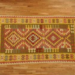Kilim Qasqagi - Hand Woven 3'4''x6'5'' Vegetable Dye Astounding Kilim Oriental Area Rug, Runner.