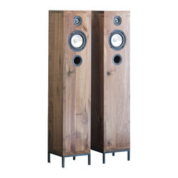 kith&kin - 2-Way Furniture-Style Hi-Fi Walnut Speakers - Speakers that look as good as they sound. Finally a set of well made, well designed beautiful foor standing speakers you won't want to hide.Small footprint, slender profile, accurate balanced sound. These speakers have it all.