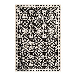 Safavieh - Zagora Hand Tufted Rug, Black / Ivory, 4' X 4' Round - Bring classic style to your bedroom, living room, or home office with a richly-dimensional Safavieh Rug. Artfully hand-tufted, these plush wool area rugs are crafted with plush and loop textures to highlight timeless motifs updated for today's homes in fashion colors.