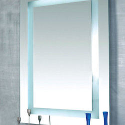 Plaza Dimmable Lighted Mirror by Edge Lighting - Plaza surface mounted dimmable mirror features four integral fluorescent lamps set behind an inset border of frosted glass. Available in a large or small version. Also available in a standard fluorescent version. For large version, add mirror defogger (DF-RE1826) to remove condensation, sold separately.  The Plaza large F1D fluorescent includes two 24 Watt, 3000K, 82CRI, T5HO lamps, and two 39 Watt, 3000K, 82CRI, T5HO lamps. Dimmable with 0-10 dimmer: Lutron dimmer - DVTV and Nova (NTFTV), both require PP-20 add on relay for On/Off; Lightolier dimmer  - ZP600FAM120; Leviton - IP710-DLZ. For additional dimmers visit www.lutron.com/instructions/030408.pdf. ADA compliant. ETL listed.