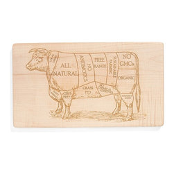 Milk & Honey Luxuries - Organic Wooden Beef Butcher Diagram Cutting Board - A vintage image of a butchers diagram was the starting point for my design, which features important factors of a responsible diet. This is then engraved onto a solid maple hardwood hand made cutting board.