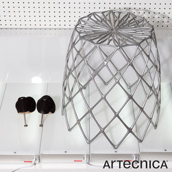 Artecnica Kaktus Stool - Kaktus Stool is a sturdy, lightweight aluminum stool for both indoor and outdoor use. Taking inspiration from the fibrous skeleton of the Staghorn Cholla cactus, the Kaktus Stool is disarmingly delicate, yet capable of supporting great weight. Kaktus doubles as a stool or a large basket when turn upside down.