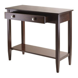 Winsome Wood - 34 in. Console Hall Table - One larger drawer. Bottom shelf. Tapered legs. Made from solid and composite wood. Antique walnut finish. Assembly required. Drawer: 22.83 in. W x 11.29 in. D x 2.59 in. H. Shelf: 32.32 in. W x 11.73 in. D. Clearance from apron to shelf: 17.52 in.. Overall: 33.98 in. W x 15.69 in. D x 29.92 in. H. Richmond console table has clean profile, perfect for hallways, entryways or tight spaces around the home.