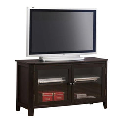 """Monarch Specialties - Monarch Specialties 48x18 TV Stand in Cappuccino, Dark Wood - This stylish 48"""" long spacious TV console table is perfect for your entertainment room. Two classy glass doors in the center enclose two generously sized adjustable shelves that are ideal for placing electronic components. Its smooth dark cappuccino cherry veneer finish will add a warm ambiance to any decor. The intricate almond shaped carvings along the edges and symmetrically angled corners offer a finessed look to this simple yet trendy piece. What's included: Media Unit (1)."""