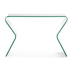 Zuo Modern - Contemporary Glass Console Table - Elegant style. Made from clear tempered glass. No assembly required. Top width: 44 in.. Bottom width: 47.2 in.. Weight Limit: 50 lbs.. Overall: 47.2 in. W x 15.7 in. D x 32.5 in. H (103 lbs.)