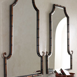 Horchow - Bamboo Curl Mirror - A bamboo-inspired frame adds texture to this flat-topped, arched mirror. Sold individually. Imported. Mirror is beveled. Frame is handcrafted of iron rods. Hand-painted antiqued gold finish with matte black inner lip and black iron band accents. D-r...