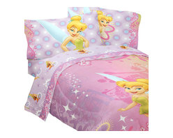 Store51 LLC - Disney Fairies Tinkerbell Whimsy 4-Piece Twin Bedding Set - Features: