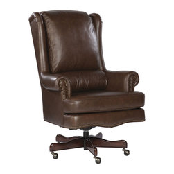Hekman - Home Office Executive Tilt Swivel Pillow Office Chair - Coffee - This is a beautiful piece of top-quality furniture that's perfect for your Man Cave, Game Room, Office or anywhere you would like to decorate and show your personal style.