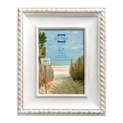 """Origin Crafts - Eastport white wash picture frame (5x7) - Eastport White Wash Picture Frame (5x7) Natural pine wood, hand distressed finish, roped border accent, two-way easel, wall hangers. (holds 5x7"""" photos) By Prinz - Prinz is a leading supplier of picture frames. At Prinz they are committed to offering unsurpassed design, quality, and value. Ships within five business days."""