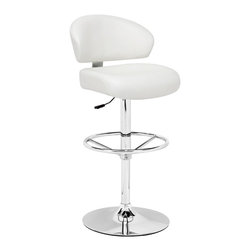 Zuo Modern - Tarragon Barstool White - This stool is made with a chromed steel frame and leatherette wrapped seat and back cushions with adjustable height and a swivel base.