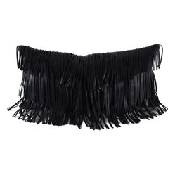 Leather Fringe Pillow, Black