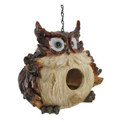 Adorable Wide-Eyed Owl Hanging Bird House - This adorable owl will gladly make room in his round belly for a family of friendly birds. The birdhouse measures 8 inches wide, 7 inches tall, and 6 inches deep, providing plenty of cozy space for a small avian family. The cold cast resin material of the house won`t rust or deteriorate in the weather. The owl has a hand painted finish that accentuates its ruffled feathers and gives a shiny gleam to its sleek feathers. A 9 inch long chain allows the birdie dwelling to hang from a tree or other such support. This piece makes an adorable garden accent and an excellent home for a family of fledglings.
