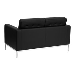 Flash Furniture - Flash Furniture Reception Furniture Reception Grouping - Loveseat - This attractive black leather reception love seat will complete your upscale reception area. The design of this love seat allows it to adapt in a multitude of environments with its button tufted cushions and stainless steel frame. [ZB-LACEY-831-2-LS-BK-GG]