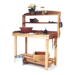 All Things Cedar - CEDAR Potting Bench - A bench dedicated to filling pots, repotting flats, transplanting etc. Our Potting Bench features a lip along its back and sides to keep the soil on the table not your deck.