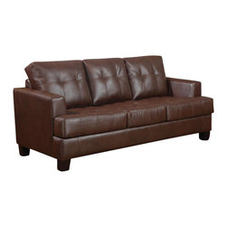 Coaster - Coaster Samuel Leather Sleeper Sofa in Dark Brown - Coaster - Sleeper Sofas - 504070 - You can have a great space saver as well as a stylish addition to any bedroom with help from this sleeper. The piece is wrapped in dark brown bonded leather upholstery and features plush seating as well as tufted cushions. You're bound to be pleased with this sleeper in your living room.