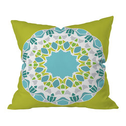 DENY Designs - Karen Harris Mod Medallion Green Throw Pillow, 16x16x4 - Wanna transform a serious room into a fun, inviting space? Looking to complete a room full of solids with a unique print? Need to add a pop of color to your dull, lackluster space? Accomplish all of the above with one simple, yet powerful home accessory we like to call the DENY throw pillow collection!